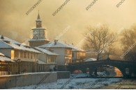 Tryavna winter, shrouded in smoke late in the afternoon - pictures from Bulgaria